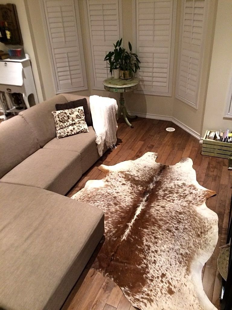 cow hide rug for rustic room or home office