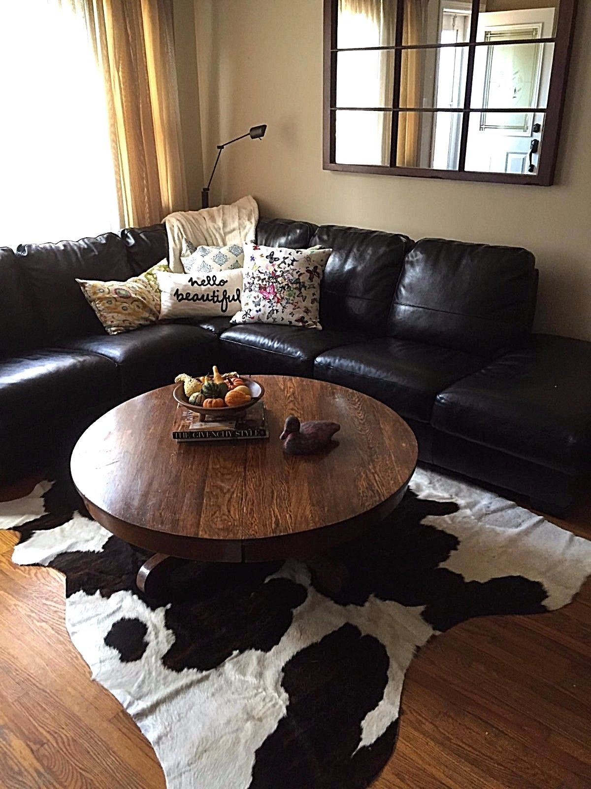living room decoration also black and white cowhide rug